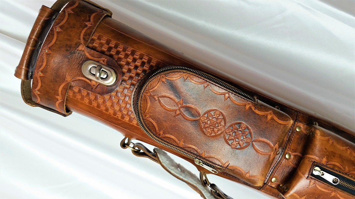 Dennis Swift 4x8 Custom Leather Pool Cue Case For Sale